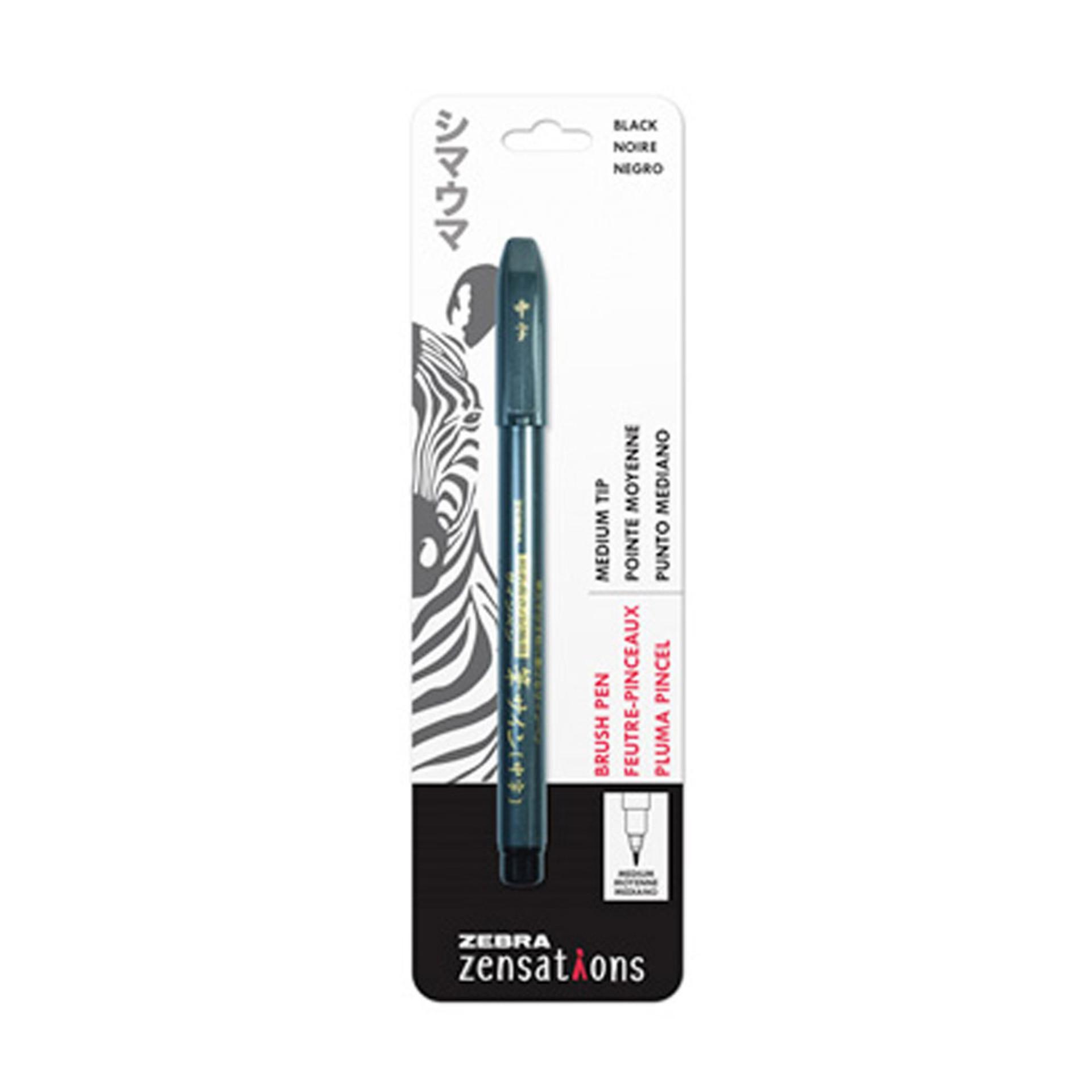Zebra Zensations Brush Pen Black Medium Point