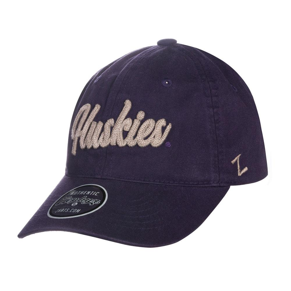 296784470fa3e Zephyr Purple Huskies Chain Stitched Scroll Adjustable Hat