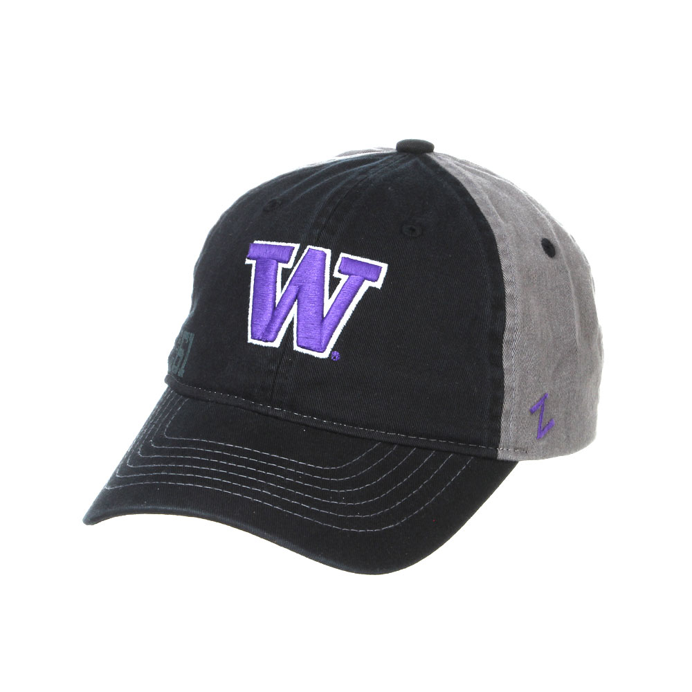 Washington Huskies Zephyr ZH Black Structured Stretch Fit Fitted Hat Cap