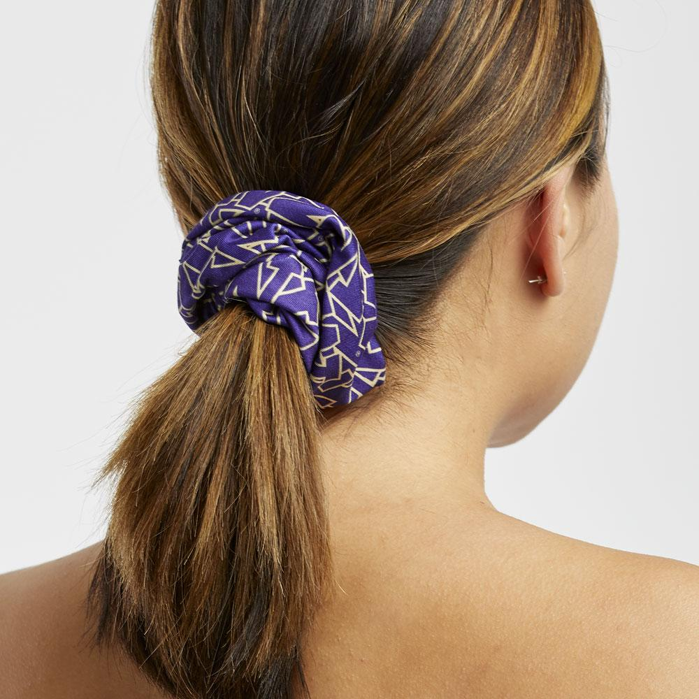 Zoozatz Purple W Stacked Scrunchie