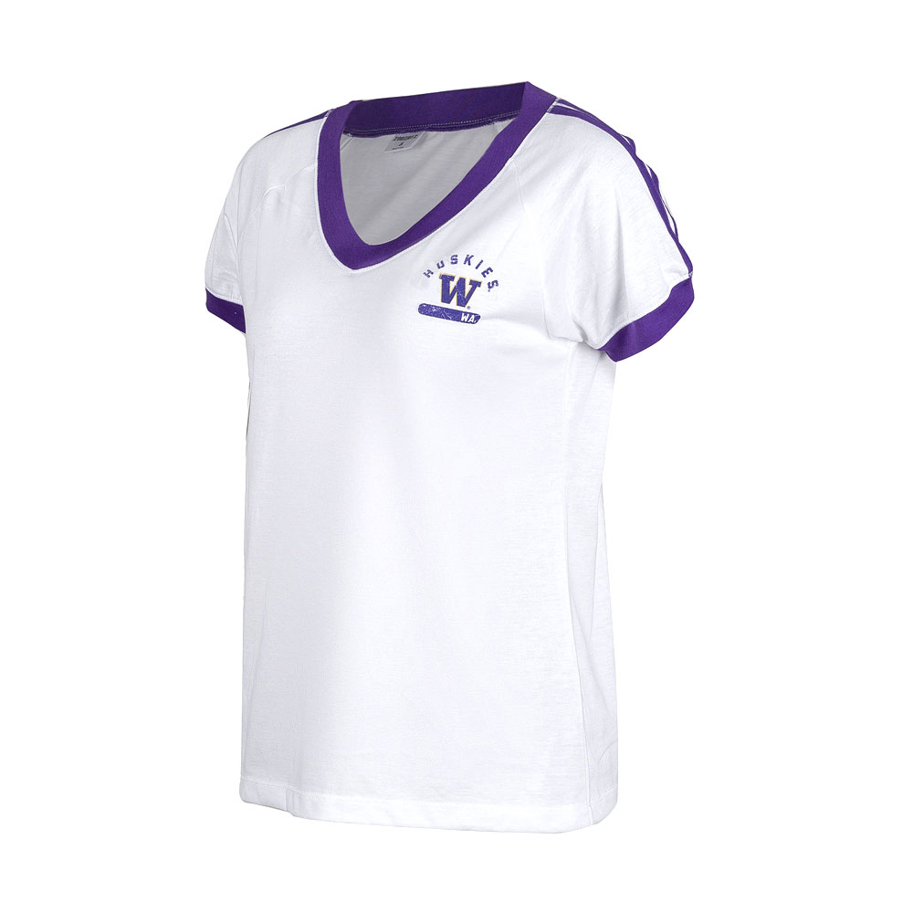 Zoozatz Women's Huskies W Retro Athletic Tee – White