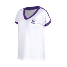 Zoozatz Women's Huskies W Retro Athletic Tee – White