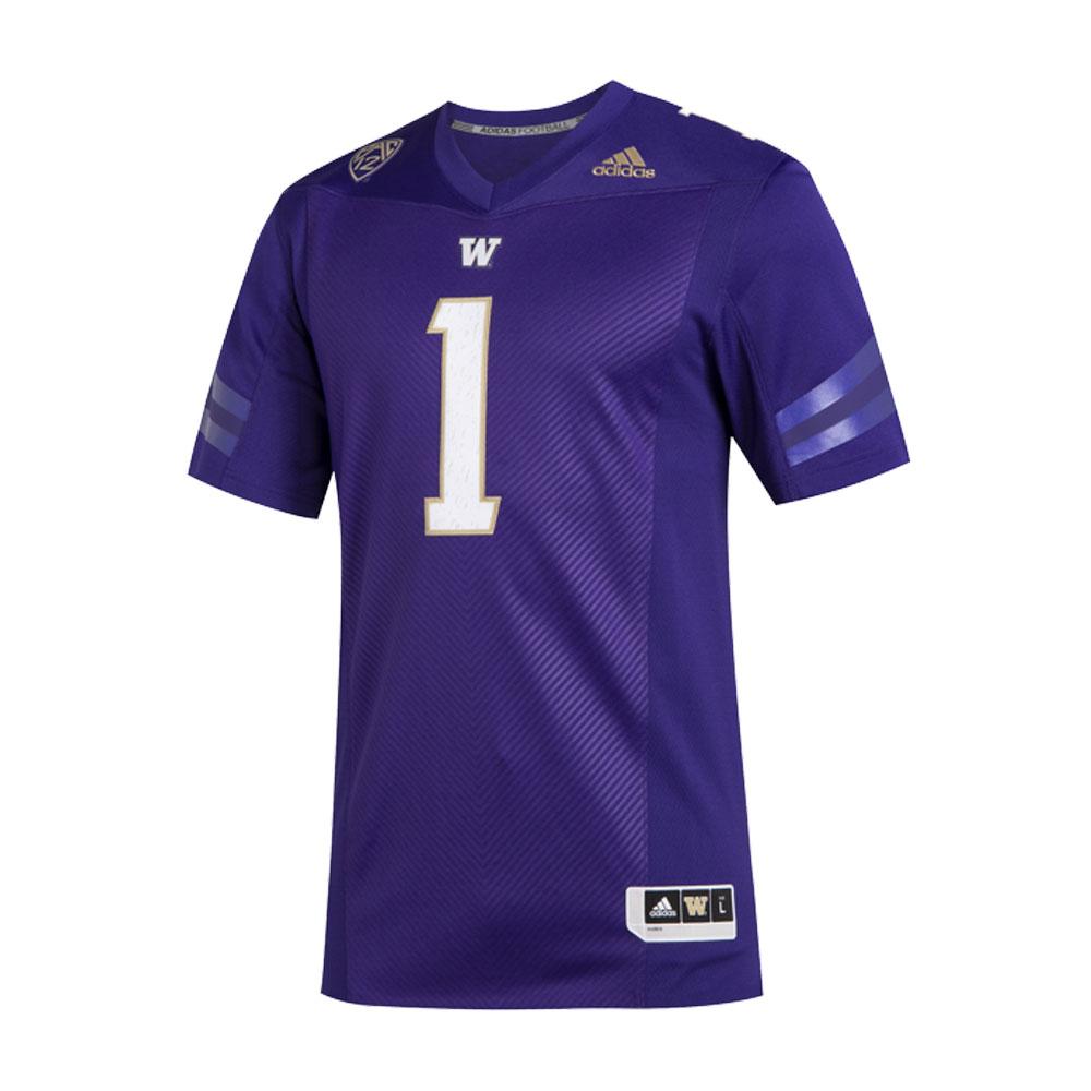 adidas Washington Huskies #1 Premier Football Jersey – Purple