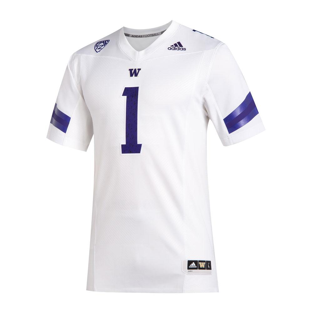 adidas Washington Huskies #1 Premier Football Jersey – White