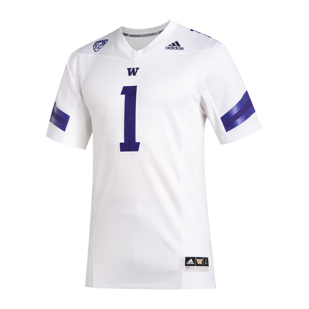 adidas Washington Huskies #1 Premier Football Jersey – White