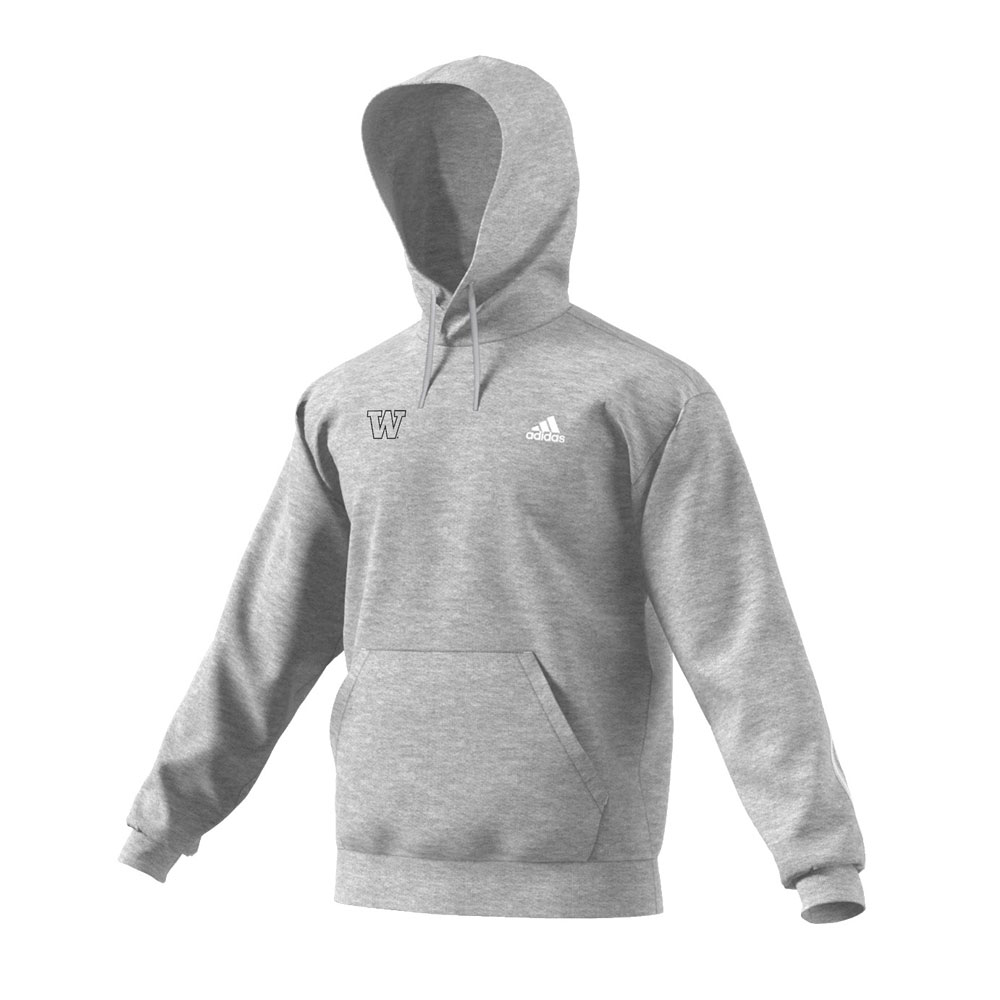 adidas Men's W Logo Must Have 3-Stripe Hoodie – Gray – Front